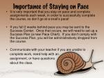 importance of staying on pace