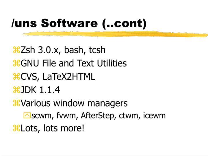 /uns Software (..cont)