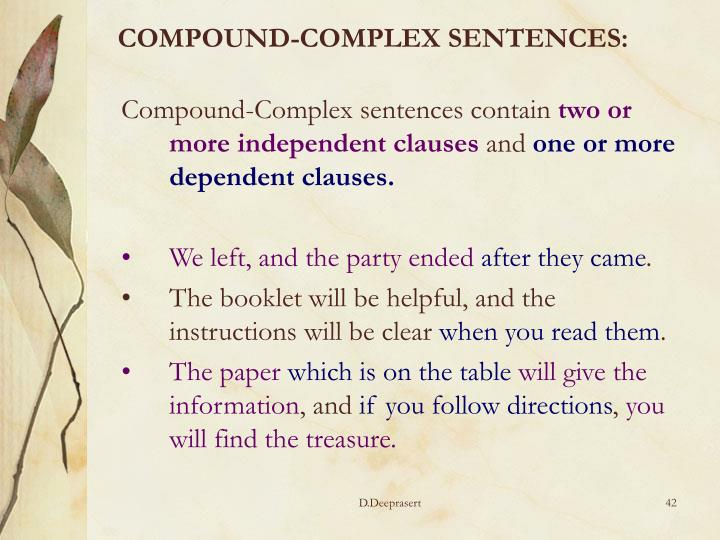 COMPOUND-COMPLEX SENTENCES: