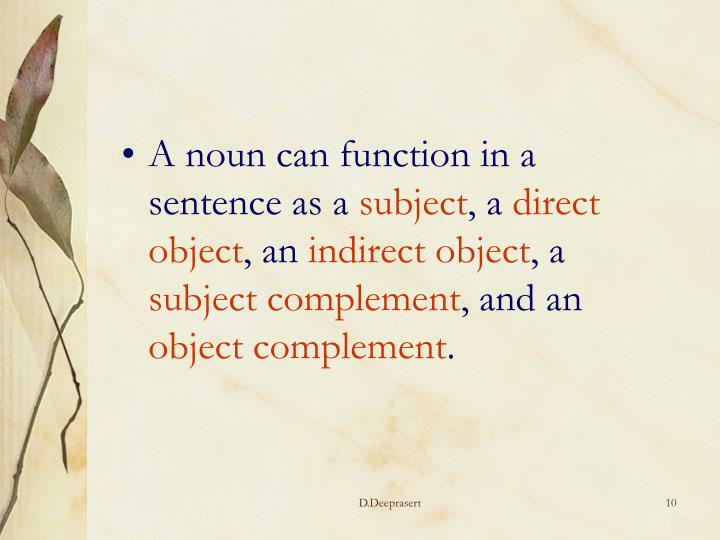 A noun can function in a sentence as a