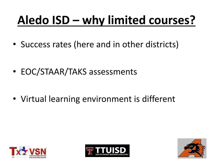Aledo ISD – why limited courses?
