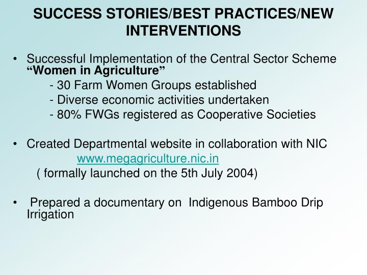 Successful Implementation of the Central Sector Scheme