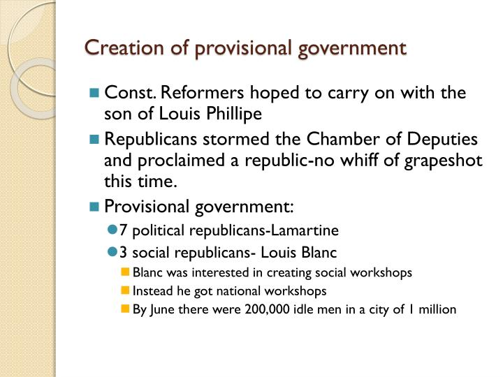 Creation of provisional government