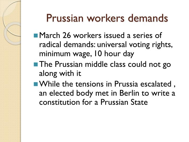 Prussian workers demands