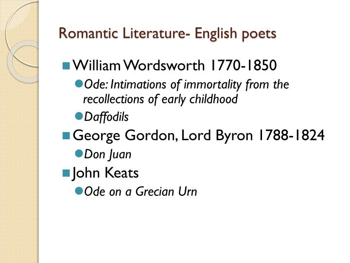 Romantic Literature- English poets