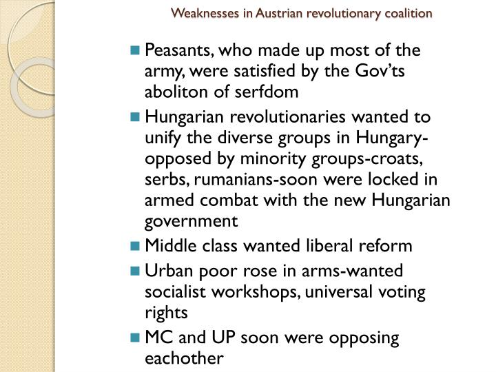 Weaknesses in Austrian revolutionary coalition