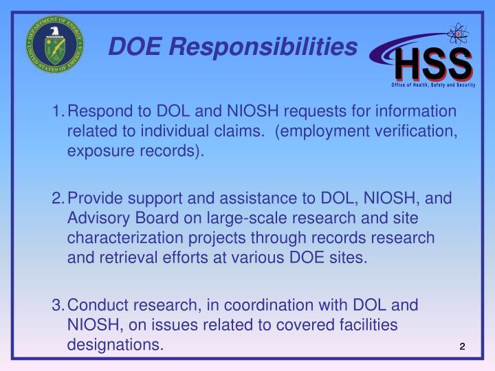 DOE Responsibilities