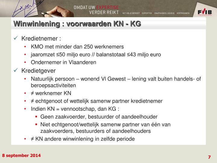 Winwinlening : voorwaarden KN - KG