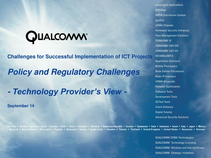 Challenges for Successful Implementation of ICT Projects