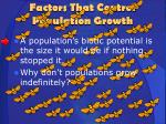 factors that control population growth
