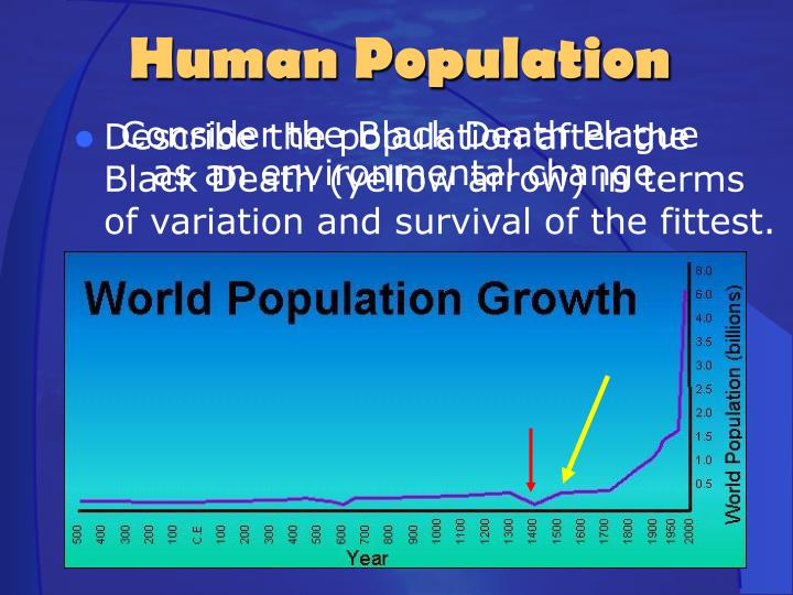 Consider the Black Death Plague as an environmental change.