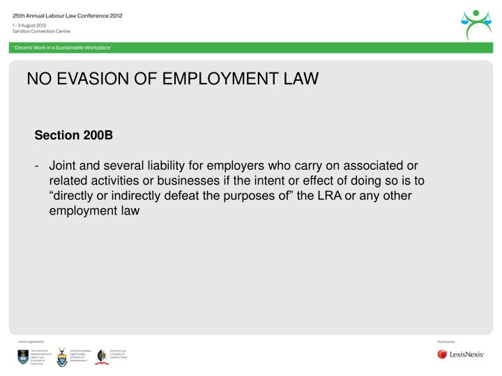 NO EVASION OF EMPLOYMENT LAW