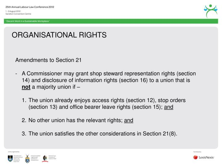 ORGANISATIONAL RIGHTS