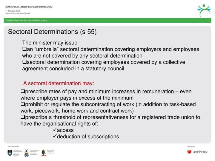 Sectoral Determinations (s 55)