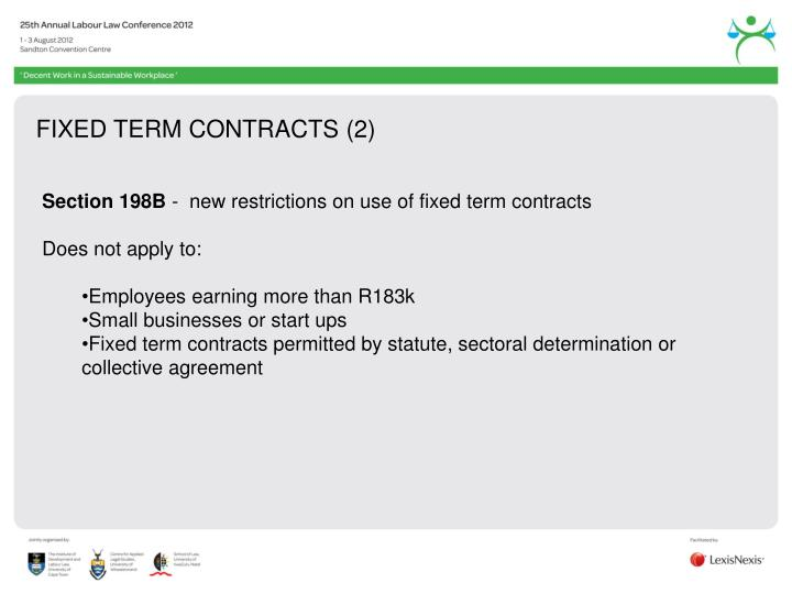 FIXED TERM CONTRACTS (2)