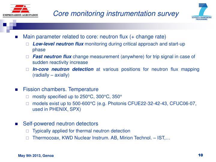 Core monitoring instrumentation survey