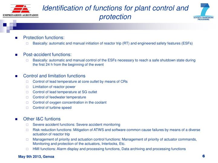 Identification of functions for plant control and protection