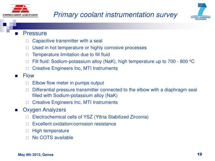 Primary coolant instrumentation survey