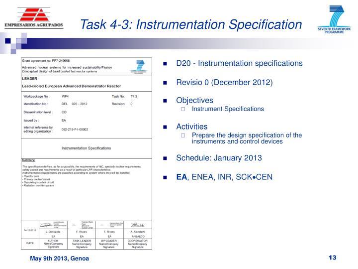 Task 4-3: Instrumentation Specification