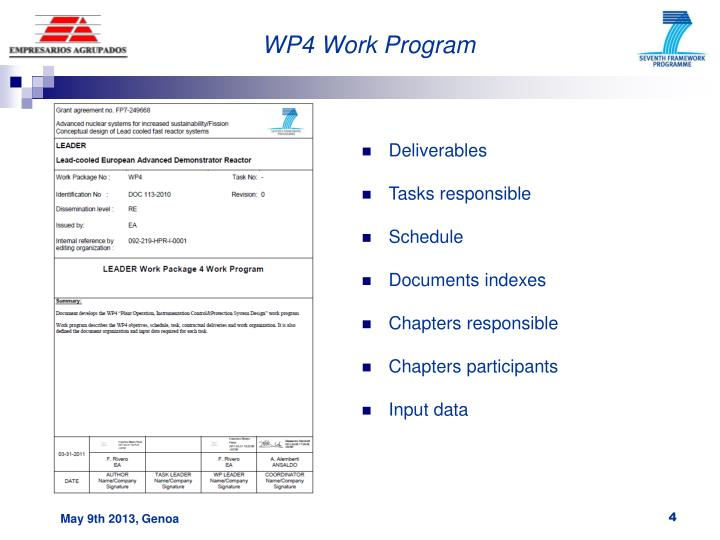 WP4 Work Program