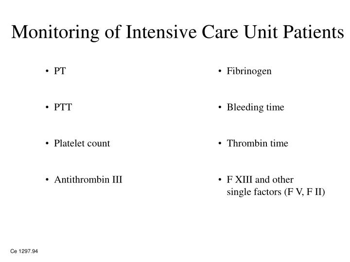 Monitoring of Intensive Care Unit Patients