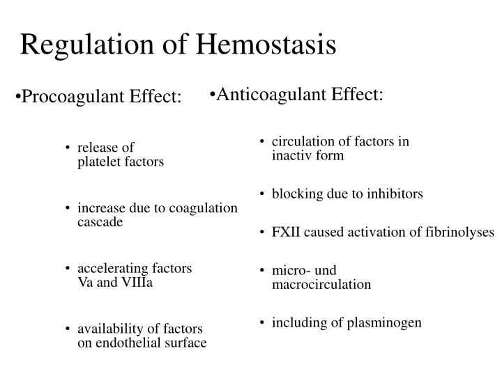 Regulation of Hemostasis