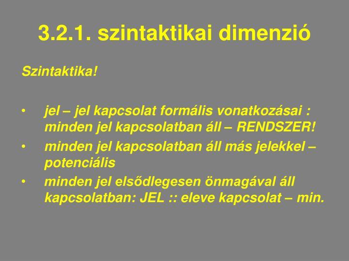3.2.1. szintaktikai dimenzió