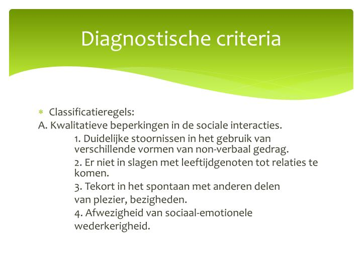 Diagnostische criteria