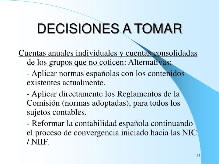 DECISIONES A TOMAR