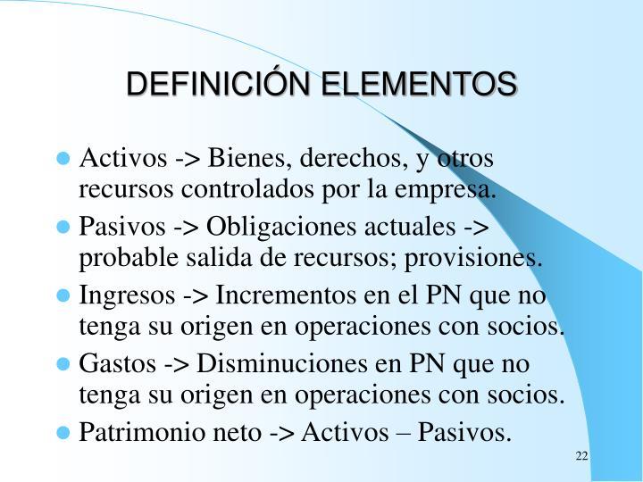 DEFINICIÓN ELEMENTOS