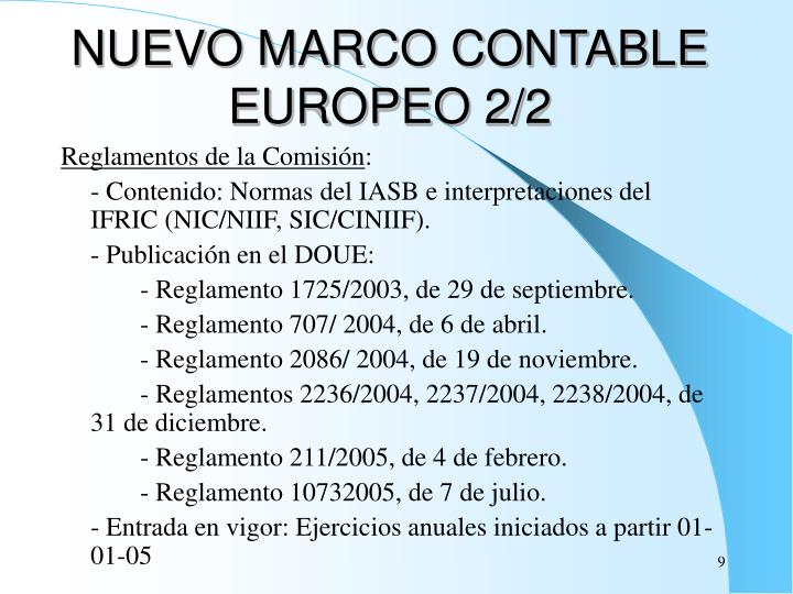 NUEVO MARCO CONTABLE EUROPEO 2/2