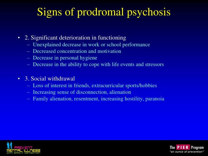 Signs of prodromal psychosis