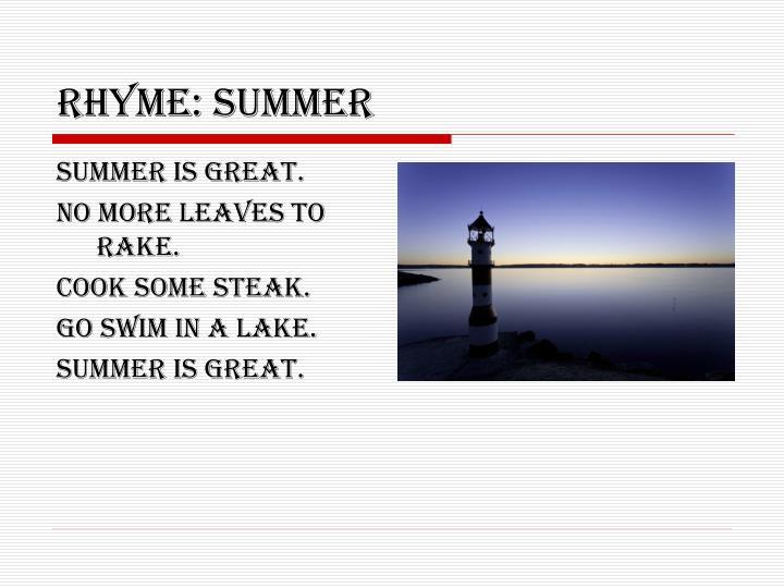 Rhyme: summer