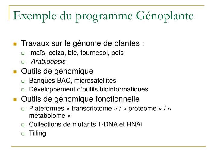 Exemple du programme Génoplante