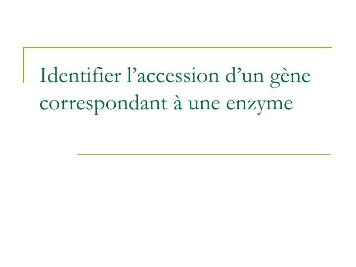 Identifier l'accession d'un gène correspondant à une enzyme