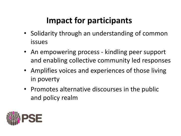 Impact for participants