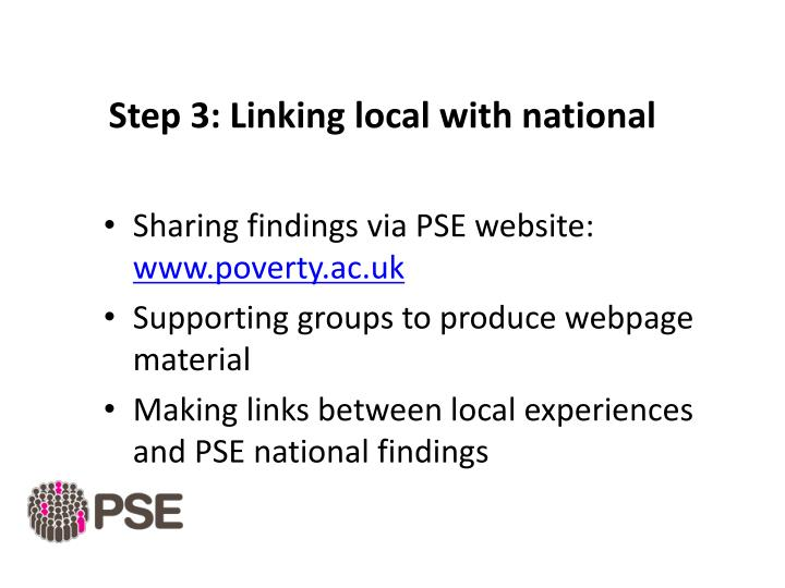 Step 3: Linking local with national