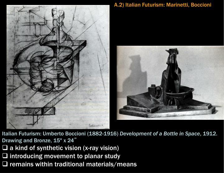 A.2) Italian Futurism: Marinetti, Boccioni