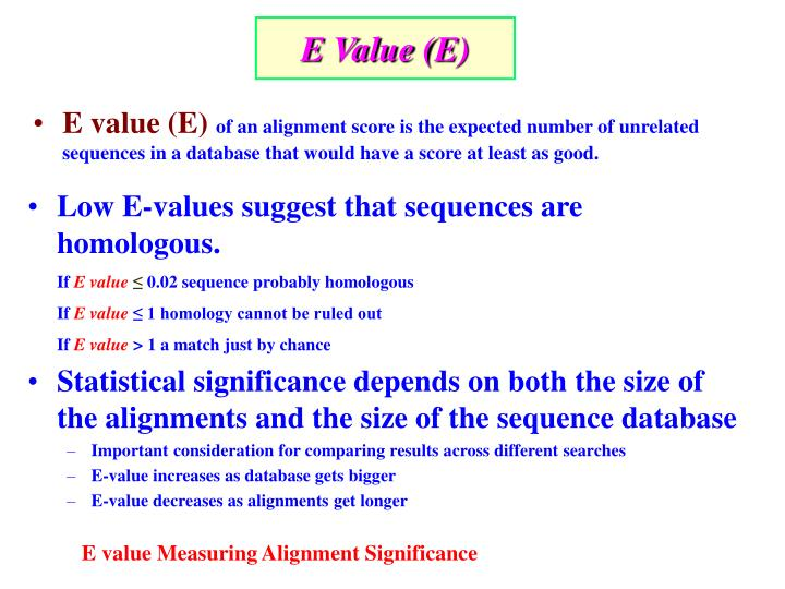 E Value (E)