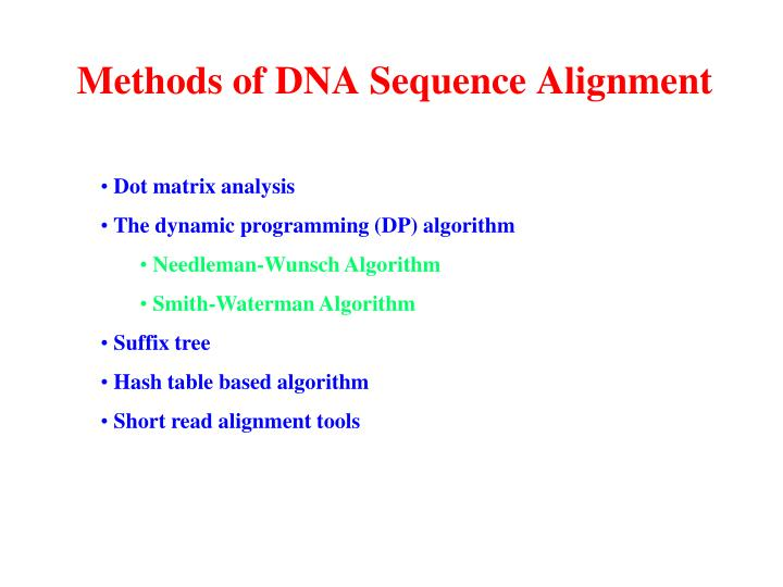 Methods of DNA Sequence Alignment