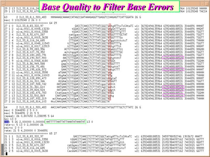 Base Quality to Filter Base Errors