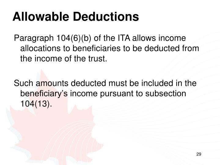 Allowable Deductions
