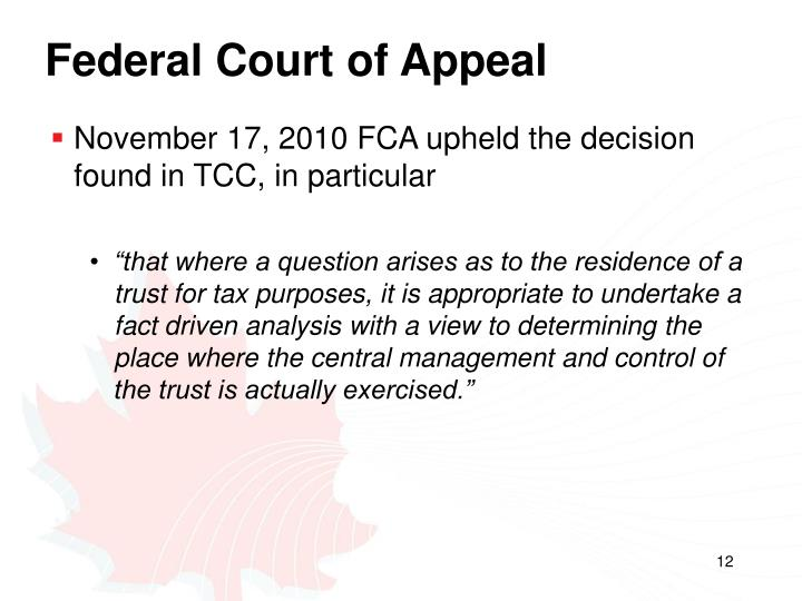 Federal Court of Appeal