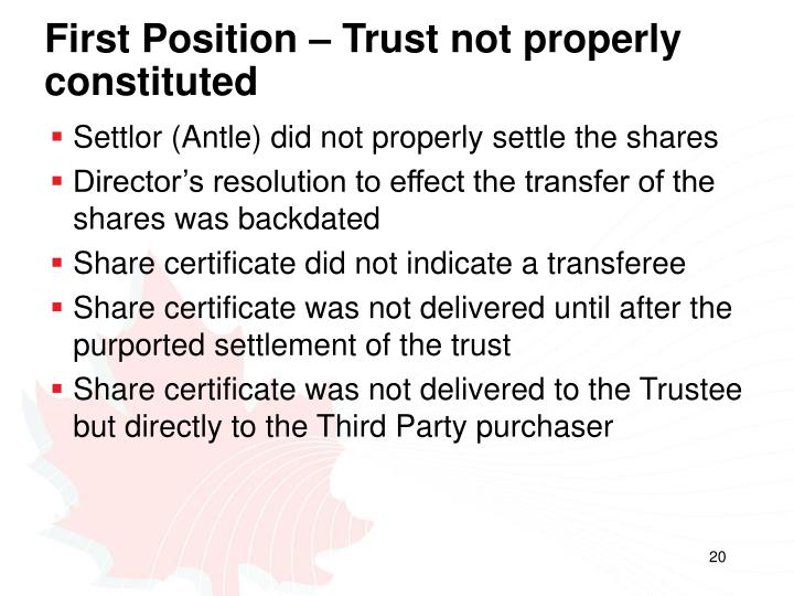 First Position – Trust not properly constituted