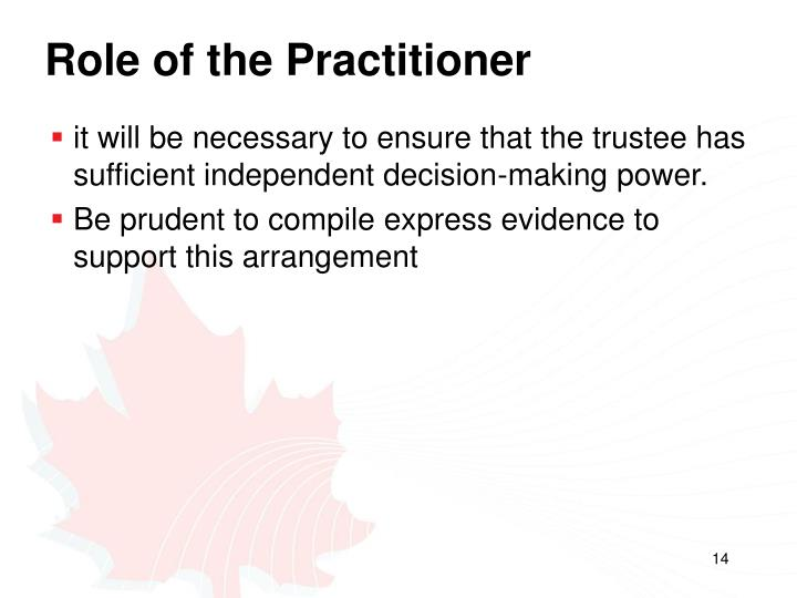Role of the Practitioner