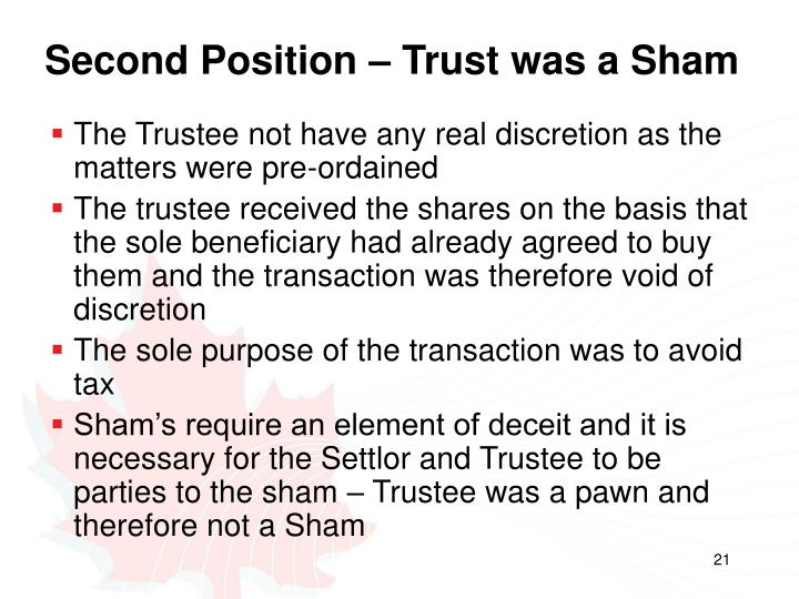 Second Position – Trust was a Sham