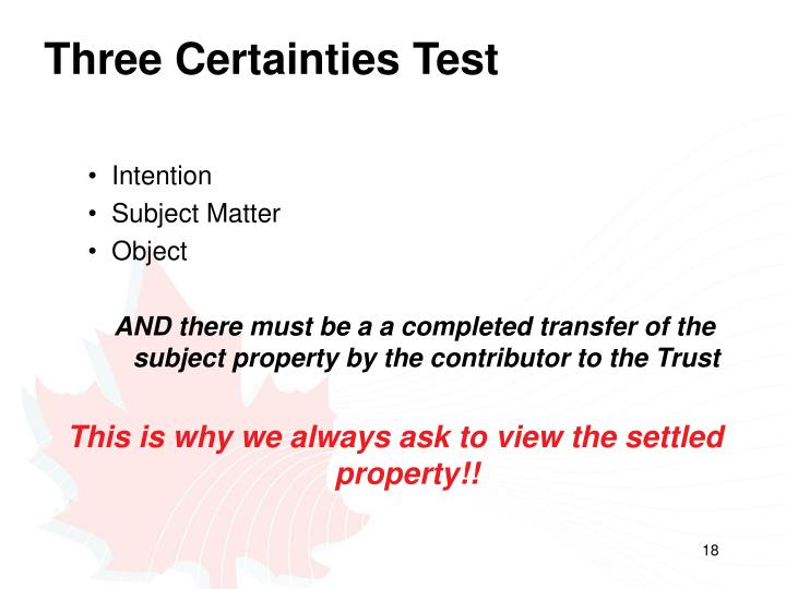 Three Certainties Test