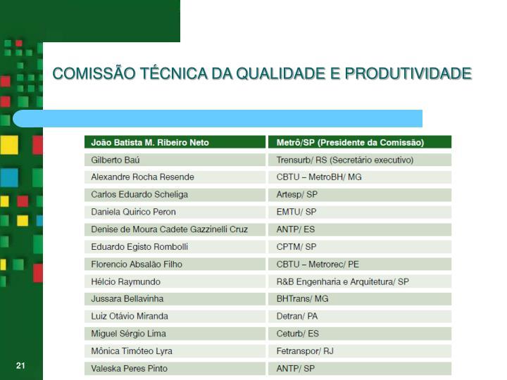 COMISSÃO TÉCNICA DA QUALIDADE E PRODUTIVIDADE