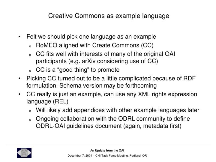 Creative Commons as example language