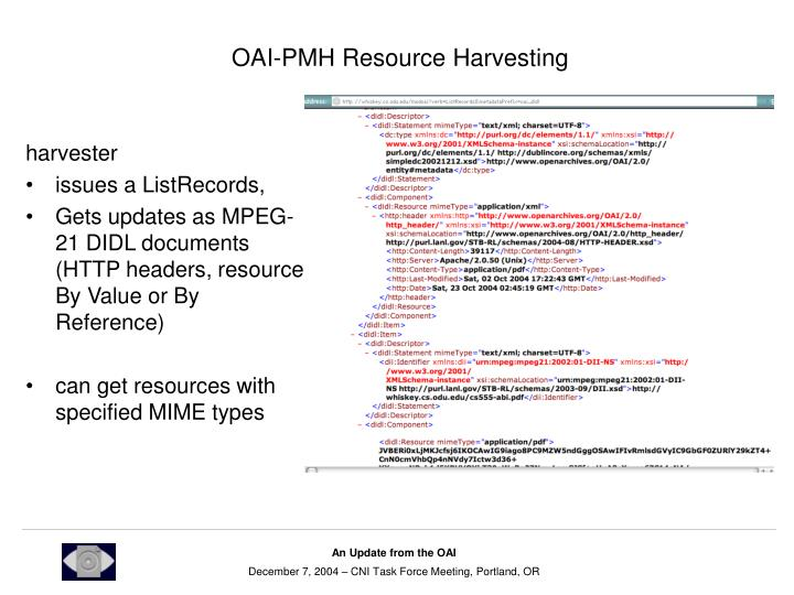 OAI-PMH Resource Harvesting